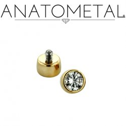 Anatometal 18kt Gold Threaded 2.0mm Bezel-set Faceted Gem End 18g 16g 14g 12g