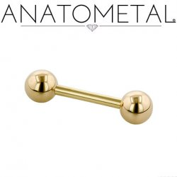 Anatometal 18kt Yellow Gold Straight Barbell 16 Gauge 16g