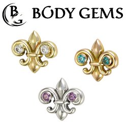 "Body Gems 14kt Gold 2 Gem ""Fleur De Lis"" Threaded End Dermal Top 18 Gauge 16 Gauge 14 Gauge 12 Gauge 18g 16g 14g 12g"