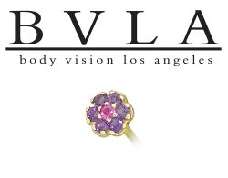BVLA 14kt Yellow White Rose Gold Flower Amethyst CZ Gem Nostril Screw Nose Bone Nail Ring Stud 20g 18g 16g Body Vision Los Angeles