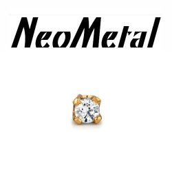 "18 Gauge 18g NeoMetal Threadless 2.0mm Prong-set Genuine Diamond End 14kt 14 Karat Gold ""Press-fit"""