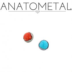 Anatometal Titanium Threaded 2.5mm Prong-Set Cabochon Gem End 18 Gauge 16 Gauge 14 Gauge 12 Gauge 18g 16g 14g 12g