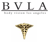 "BVLA 14kt Gold ""Caduceus"" Threaded End Dermal Top18g 16g 14g 12g Body Vision Los Angeles"