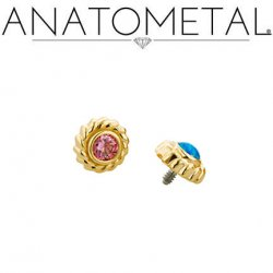 Anatometal 18kt Gold Purity Threaded End 2.0mm Gem 18g 16g 14g 12g