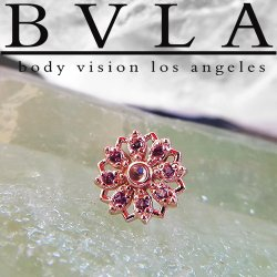 "BVLA 14kt Gold ""Rosette"" Threaded Gem End Dermal Top 18g 16g 14g 12g Body Vision Los Angeles"