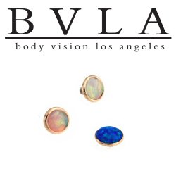 BVLA 14kt Gold Opal Cup 4mm Threaded End Dermal Top 18g 16g 14g 12g Body Vision Los Angeles