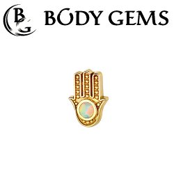 Body Gems 14kt Gold Hamsa Threaded End Dermal Top 18 Gauge 16 Gauge 14 Gauge 12 Gauge 18g 16g 14g 12g