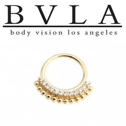 "BVLA 14kt Gold Aria Ring 7/16"" 14g Body Vision Los Angeles"