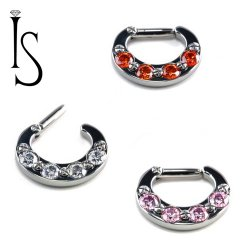 Industrial Strength Titanium 4 Faceted Gem Septum Clicker 12G 12 gauge
