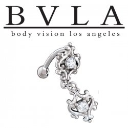 BVLA 14kt Gold Milano Genuine Diamond Navel Curved Barbell 14 Gauge 14g Body Vision Los Angeles