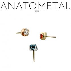 "Anatometal Titanium Threadless 1.5mm Prong-set Faceted Gem End 18 Gauge 18g ""Press-fit"""
