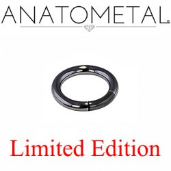 "Anatometal Black Niobium 3/8"" Segment Ring 8 Gauge 8g Limited Edition"