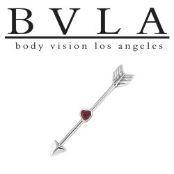 BVLA 14kt Gold Straight Through My Heart Arrow Ruby Industrial Barbell 14 Gauge 14g Body Vision Los Angeles