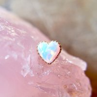 "Anatometal 18kt Gold Opal Heart threadless End 18 Gauge 18g ""Press-fit\"""