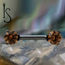 Industrial Strength Titanium Barbell 3 Prong Round Forward Facing Gems 16g 14g 12g