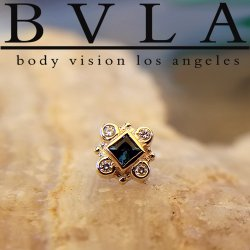 "BVLA 14Kt Gold ""Aspen"" Threaded End Dermal Top 18g 16g 14g 12g Body Vision Los Angeles"