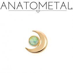 Anatometal 18Kt Gold Threaded Crescent Moon End 2.5mm Gem 18g 16g 14g 12g