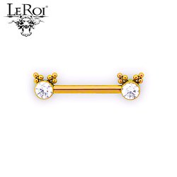 Le Roi Titanium Side-set Gem Barbell 12 Bead Accents 14 Gauge 12 Gauge 14g 12g