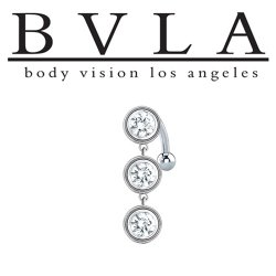 BVLA 14kt Gold Castilla Genuine Diamond Navel Curved Barbell 14 Gauge 14g Body Vision Los Angeles