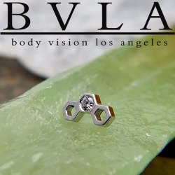 "BVLA 14Kt Gold ""Honeycomb"" Threaded End Dermal Top 18g 16g 14g 12g Body Vision Los Angeles"