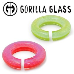 "Gorilla Glass Fused Dichroic Round Saturns 1.6oz Ear Weights 9/16"" And Up (Pair)"