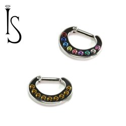 Industrial Strength Titanium 9 Threaded Holes Septum Clicker 12G 12 gauge