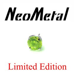 "16 Gauge 16g NeoMetal Limited Titanium Edition Threadless Prong-Set Peridot 4mm Gem ""Press-fit"""