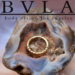 "BVLA 14kt, 18kt Gold ""Oaktier"" Nose Nostril Septum Daith Ring 16 Gauge 16g Body Vision Los Angeles"