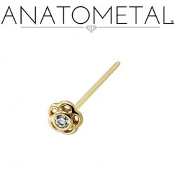 Anatometal 18kt Gold Tama Nostril Screw Nose Ring 2.0mm Gem 20 Gauge 18 Gauge 20g 18g