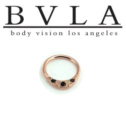 "BVLA 14kt Gold ""Janna"" w/ Gems Septum Clicker Hinge Ring 14 Gauge 12 Gauge 14g 12g Body Vision Los Angeles"