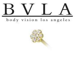 BVLA 14kt Yellow White Rose Gold Flower CZ Gem Nostril Screw Nose Bone Nail Ring Stud 20g 18g 16g Body Vision Los Angeles
