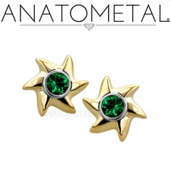 Anatometal 18kt Gold Pinwheel Threaded End 2mm gem In Steel Bezel Insert 18g 16g 14g 12g