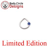 "Body Circle Surgical Stainless Steel 3/8"" Triangle Captive Bezel Ring with Faceted Blue Gem 14 Gauge 14g"