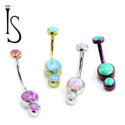 Industrial Strength Titanium Gemini Bezel-set Faux-pal Gem Curved Barbell Belly Button Ring 14 Gauge 14g