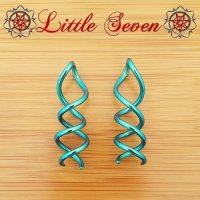 "Little Seven Niobium ""Caduceus"" Spiral Twist 12g (Pair)"