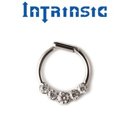 Intrinsic Body Titanium 5 Prong-set Gems Septum Clicker Nose Ring Daith Ring 18 Gauge 16 Gauge 14 Gauge 18g 16g 14g