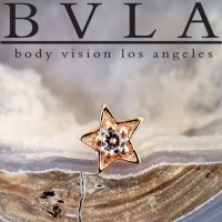 "BVLA 14Kt Gold ""Concentric Star\"" Threaded End Dermal Top 18g 16g 14g 12g Body Vision Los Angeles"