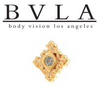 "BVLA 14kt Gold ""Flourish Illusion"" Threaded End Dermal Top 18g 16g 14g 12g Body Vision Los Angeles"