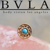 "BVLA 14kt Gold ""Bandera"" Threaded End Dermal Top 18g 16g 14g 12g Body Vision Los Angeles"