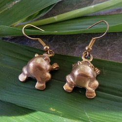 Pre-Columbian Design Bronze Frogs Earrings #9 (Pair)