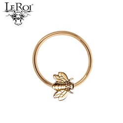 LeRoi 14kt Gold Seam Ring with Bee 14 Gauge 14g