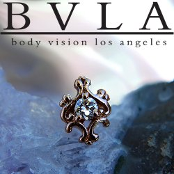 "BVLA 14kt Gold Small ""Paloma Swirl"" Gem Center 6mm Threaded End Dermal Top 18g 16g 14g 12g Body Vision Los Angeles"