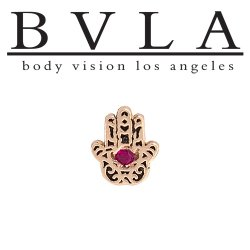 "BVLA 14kt Gold ""Hamsa Hand"" with Gem Threadless End 18g 16g 14g ""Press-fit"""