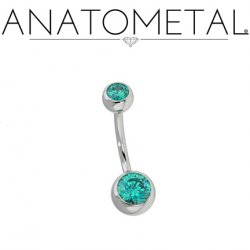 Anatometal Surgical Stainless Steel Gemmed Ball Navel Curve 14g 12g