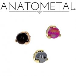 Anatometal 18Kt Gold Claw-set 4mm Gem Threaded End 18g 16g 14g 12g