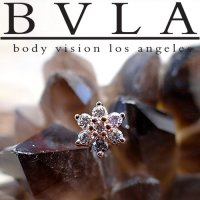"BVLA 14kt 18kt Gold Flower Threadless Gem End 18g 16g 14g ""Press-fit"""
