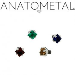 Anatometal Titanium Threaded 2mm Princess Cut Gem End 18 Gauge 16 Gauge 14 Gauge 12 Gauge 18g 16g 14g 12g