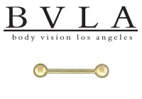 "BVLA 14kt Gold Barbell with 5/32"" Ball Ends 14 gauge 14g Body Vision Los Angeles"
