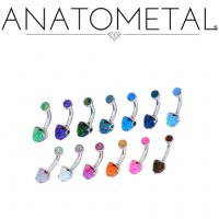 Anatometal Surgical Steel Heart Gem Navel Curve Belly Button Ring 14g 12g