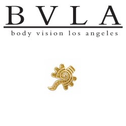 "BVLA 14kt Gold ""Tecolate"" Threaded End Dermal Top 18g 16g 14g 12g Body Vision Los Angeles"